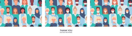 Set of modern vector seamless patterns in flat style. Healthcare workers, medical staff. Thank you doctors and nurses helping people to cope with novel coronavirus COVID-19. Quarantine. Stay home