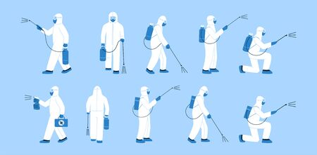 Set of isolated vector illustrations in flat style. No germs. Man, specialist, doctor in white hazmat suit, mask. Disinfection in public places. Decontamination as a prevention against virus spread Vector Illustration