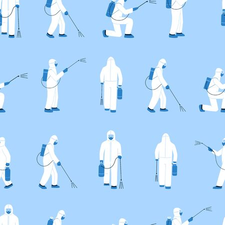 Modern vector seamless pattern in flat style. Endless texture with people in white hazmat suits isolated on blue. Disinfection in public places. Decontamination as a prevention against virus spread