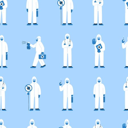 Modern vector seamless pattern in flat style. Endless texture with people in white hazmat suits isolated on blue. Stop coronavirus COVID-19. Doctors, nurses, healthcare workers, medical staff
