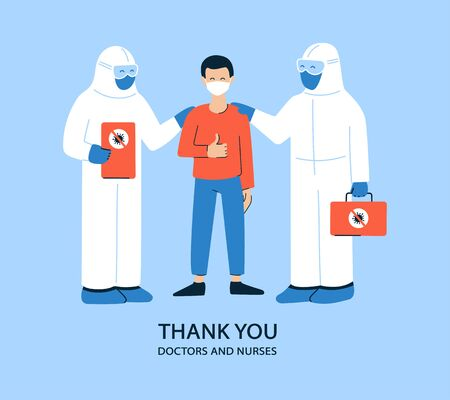 Positive vector illustration in flat style. Thank you doctors and nurses. Coronavirus COVID-19. Medical staff in white hazmat suits and masks. Pleased happy patient. Get well, recover soon Stockfoto - 145774820