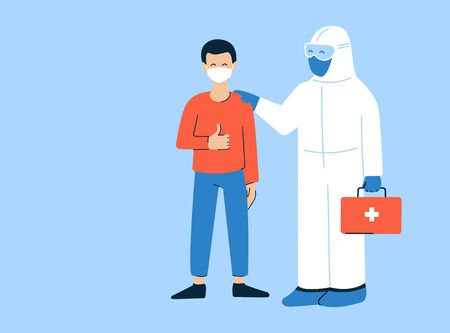 Modern vector illustration in flat style. Thank you doctors and nurses. Coronavirus COVID-19. Doctor in white hazmat suit. Pleased happy patient wearing mask. Get well, recover soon. Place for text Stock Illustratie