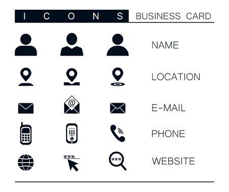 Ensemble d'icônes d'affaires vecteur moderne isolé sur fond blanc. Symbole de localisation, courrier, téléphone, site Web. Clipart pour la conception de cartes de visite. Communication, marketing, jeu d'icônes de publicité
