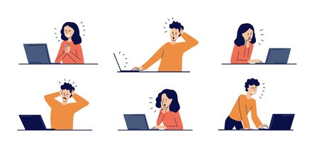 Set of modern isolated vector illustrations in flat style. Man and woman watching news. Happy, smiling, surprised, upset, frightened young people. Social network. Working on laptop at home.