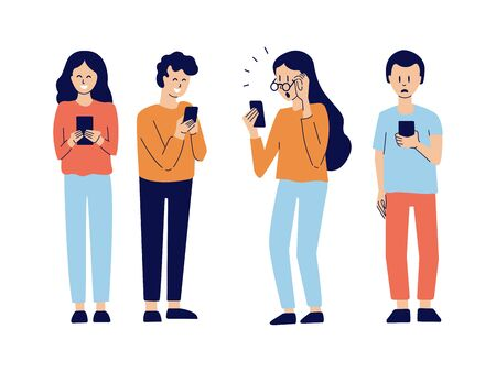 Vector set of modern isolated illustrations in flat style. Young people watching news, chatting with friends. Teenagers type messages. Social network. Communication concept. Characters with smartphone