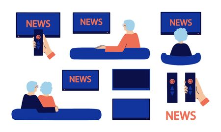 Set of vector isolated illustrations in flat style. Embracing senior couple sitting on couch, watching news at home. Elderly man, woman. Grandparents spend quarantine together. TV remote control