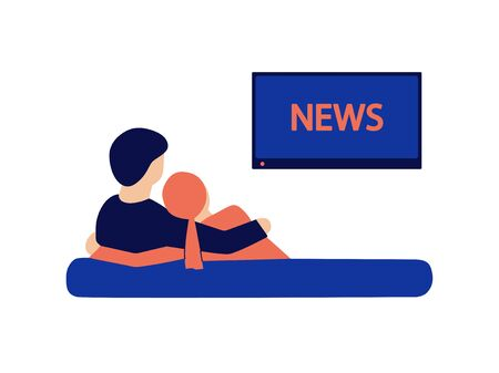 Modern vector illustration in flat style isolated on white. Embracing young loving couple sitting on a couch and watching news on TV at home. Boy and girl, man and woman spending quarantine together