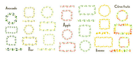 Set of decorative vector frames and borders isolated on a white background. Avocado, pear, apple, banana, citrus fruits. Endless brush, floral seamless border. Line pattern, edge decor. Fruit ornament Vecteurs