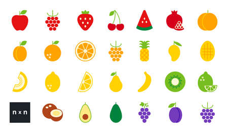 Set of vector flat color icons. Collection of fruits and berries. Modern minimalistic design