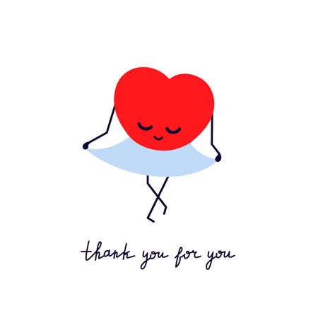 Thank you for you. Red smiling heart in a blue skirt. Bow in gratitude. Greeting card with cute kawaii character. Modern lettering. Valentines day design. Vector isolated illustration in flat style