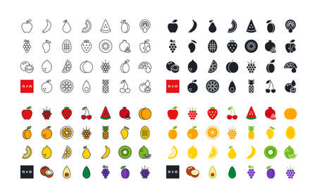 Fruits and berries. Healthy food and vitamins. Set of vector linear flat color icons. Black isolated silhouette. Fill solid icon. Contour, shape, outline. Ilustração