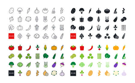 Vegetables. Healthy food and vitamins. Set of vector linear flat color icons. Black isolated silhouette. Fill solid icon. Contour, shape, outline. Thin line. Modern design