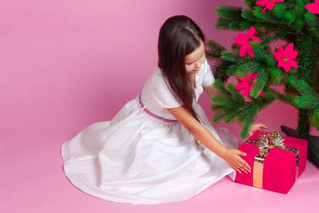 girls in a white dress takes out a gift box from under the Christmas tree, wish fulfillment, on a pink background