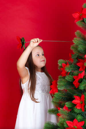 mock-up girl in white dress sticks artificial flowers in Christmas tree, isolated on red background with space for text