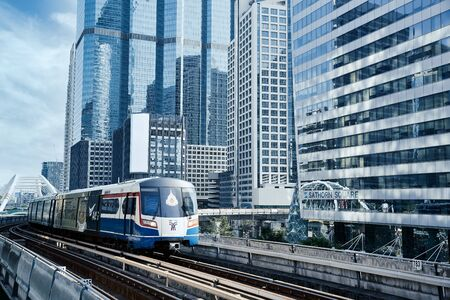 Sky train railway in Bangkok with business building Reklamní fotografie