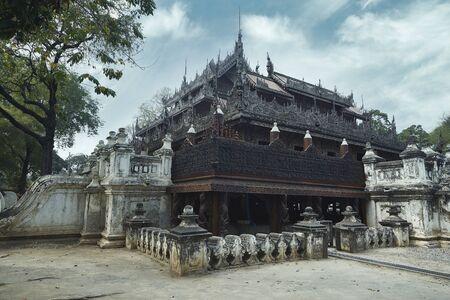Shwenandaw buddhist monastery in Mandalay, Myanmar.