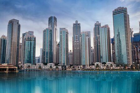 Beautiful Cityscape of Dubai Skyscrapers on the sunset.