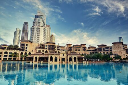 Beautiful Cityscape of Dubai with traditional arab architecture. 스톡 콘텐츠
