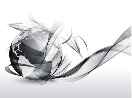Vector globe with abstract wave