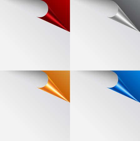 Vector set of page corners. Stock Illustratie