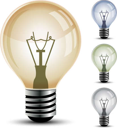 Vector light bulbs isolated on white background.