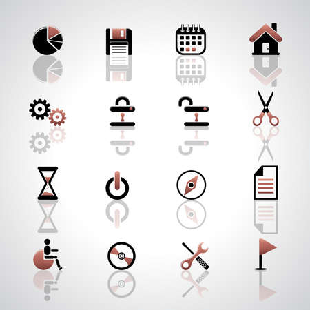 Vector set of icons on white backgroud. Archivio Fotografico - 150609337