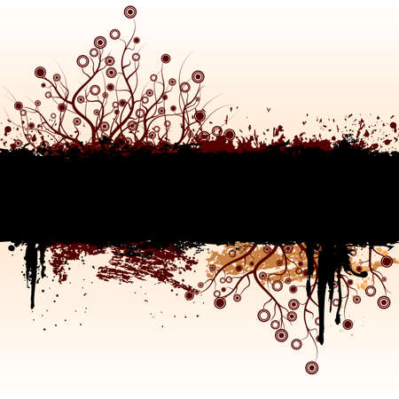 Vector grunge floral background with floral elements.
