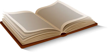 Vector isolated opened book on white background.