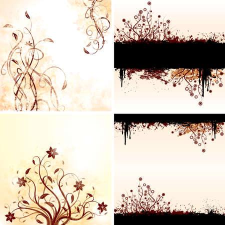 Vector set of grunge floral backgrounds.