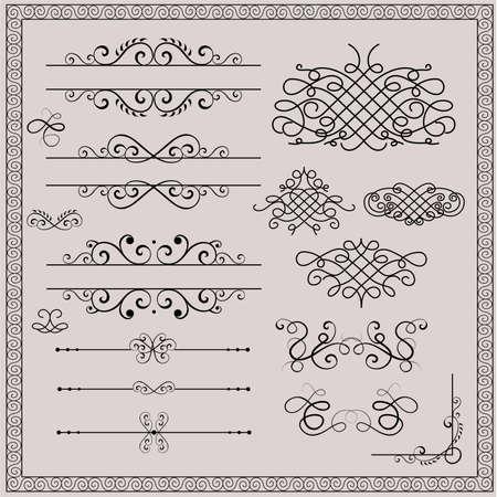 Vector set of vintage floral elements Stock Illustratie
