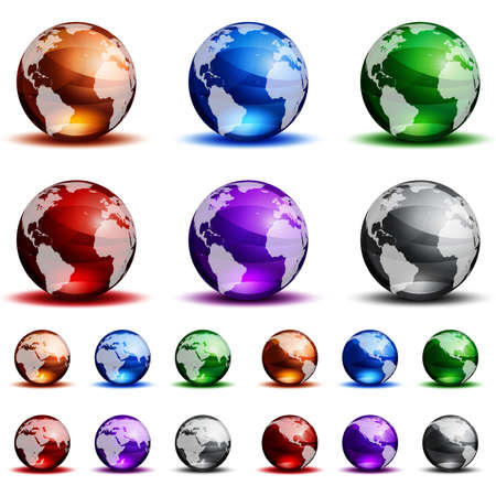 Vector colorful glass globes isolated on white background. Illusztráció