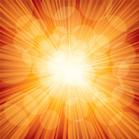 Vector illustration of orange sunbeam. Ilustração Vetorial