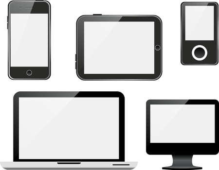 Vector set of devices on white background.