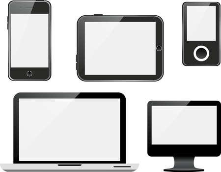 Vector set of devices on white background. Vektorové ilustrace