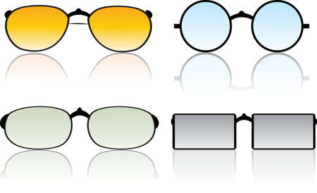 Set of vector sunglasses on white background.