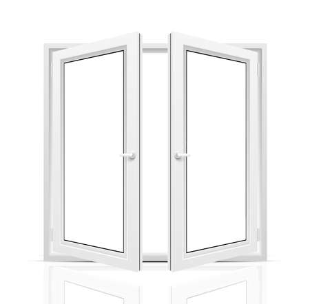 Vector opened window isolated on white background.
