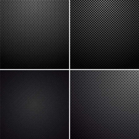 Vector set of metal-carbon textures.