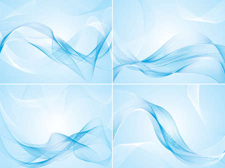 Set of abstract blue background with waves.