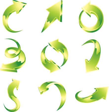 Vector set of green arrows.