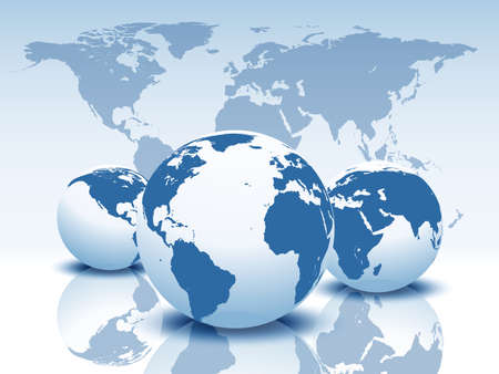 Vector globes and world map. Ilustracja