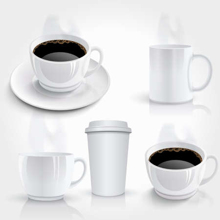 Vector set of coffee cups. Ilustrace
