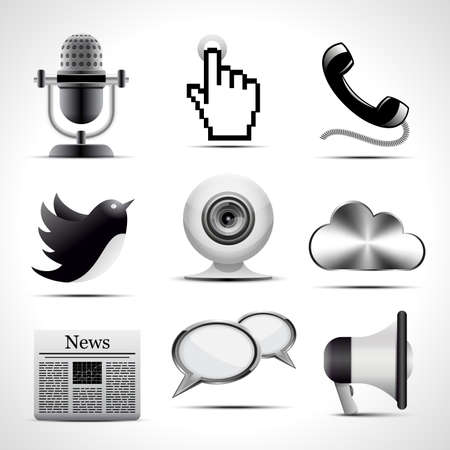 Vector set of detailed communication icons.