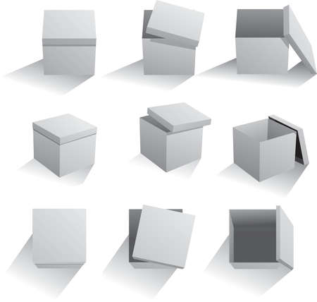 Vector set of gray boxes. Ilustrace