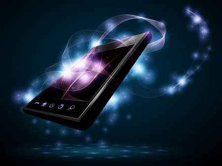 Vector phone with abstract waves from the screen
