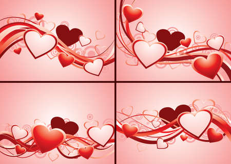 Set of backgrounds with hearts and lines.