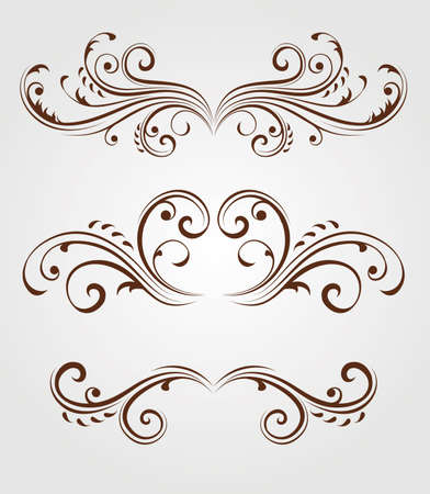Vector set of swirly elements Illusztráció