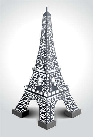 Vector illustration of Eiffel tower isolated on white background.