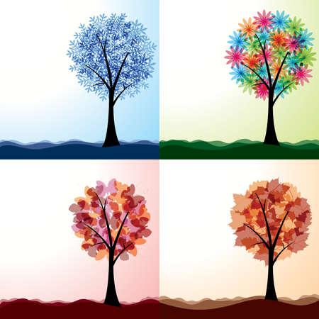 Vector illustrations of four seasons of the year. 矢量图像
