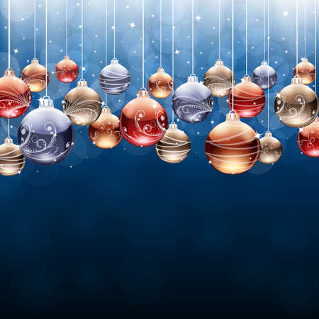 Vector Christmas background with bubbles.