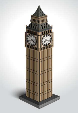 Vector illustration of Big Ben tower isolated on white background.